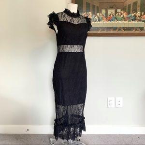 NWT Endless Rose Black Lace Midi Dress